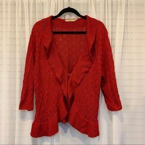 Notations Red Crochet Ruffle Trim Cardigan Size 2x